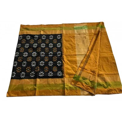Ikkath Weaves Black Silk Floral Printed Ikkat Handloom Saree