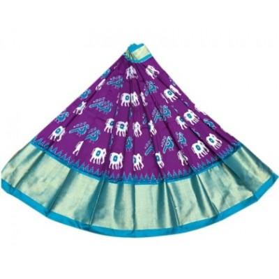 Ikkath Weavers Violet Silk Ikkat Designed Un-Stitched Handloom Lehenga Choli
