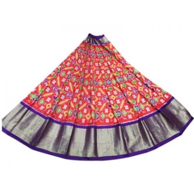 Ikkath Weaves Red Silk Ikkat Designed Un-Stitched Handloom Lehenga Choli