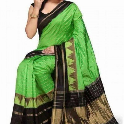 Ikkath Weaves Green Silk Temple designed Ikkat Handloom Saree