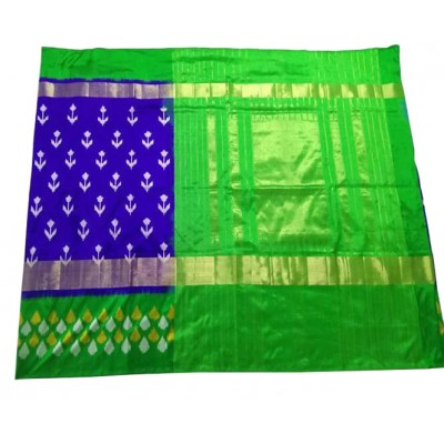 Ikkath Weaves Royal blue Silk Kaddi Bordered Ikkat Handloom Saree