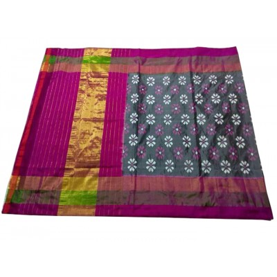 Ikkath Weaves Grey Silk Floral Printed Ikkat Handloom Saree