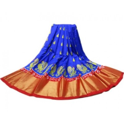 Ikkath Weavers Blue Silk Un-Stitched Handloom Lehenga Choli