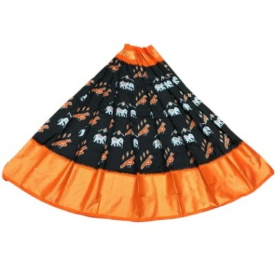 Ikkath Weaves Black Silk Un-Stitched Handloom Lehenga Choli