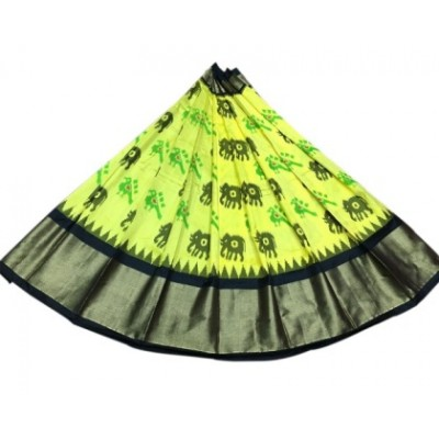 Ikkath Weavers Yellow Silk Ikkat Designed Un-Stitched Handloom Lehenga Choli