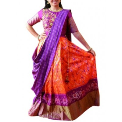 Ikkath Weavers Orange Silk Un-Stitched Handloom Lehenga Choli