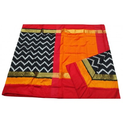 Ikkath Weaves Black Silk Kaddi Bordered Ikkat Handloom Saree