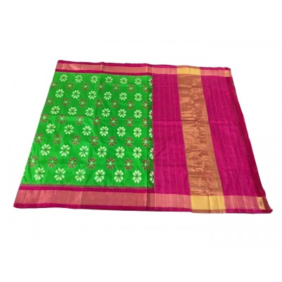 Ikkath Weaves Green Silk Floral Printed Ikkat Handloom Saree