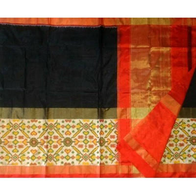Ikkath Weaves Black Silk Pan Patola Ikkat Handloom Saree
