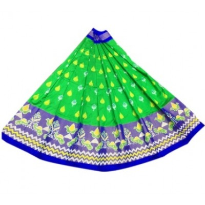 Ikkath Weavers Green Silk Un-Stitched Handloom Lehenga Choli