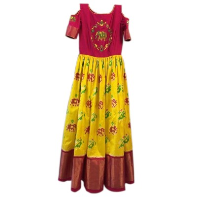 Ikkath Weaves Yellow Silk Ikkat Designed Un-Stitched Handloom Lehenga Choli