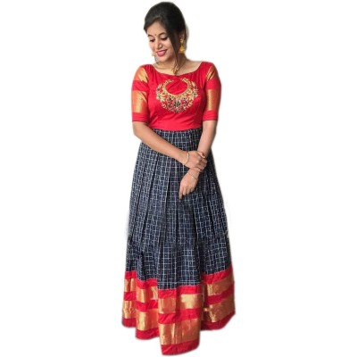 Ikkath Weavers Black Silk Ikkat Designed Un-Stitched Handloom Lehenga Choli