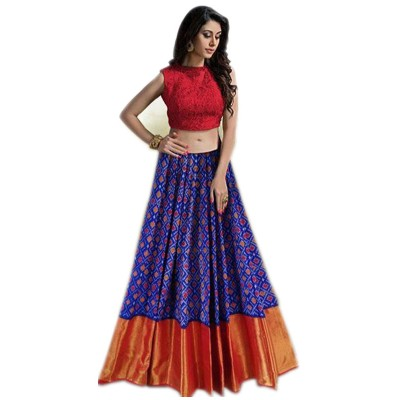 Ikkath Weaves Blue Silk Un-Stitched Handloom Lehenga Choli