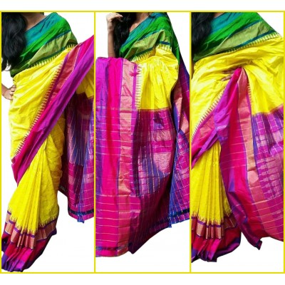 Ikkath Weaves Yellow Silk Ganga-Jamuna bordered Ikkat Handloom Saree