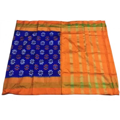 Ikkath Weaves Blue Pure Silk Floral Printed Ikkat Handloom Saree