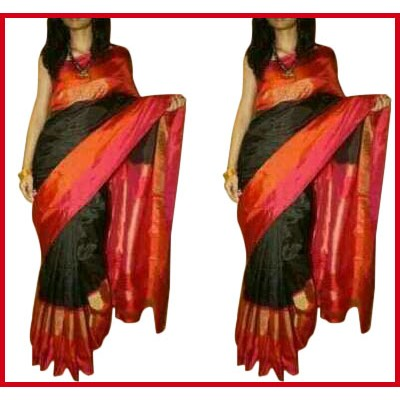 Ikkath Weaves Black Silk Ikkat Handloom Saree