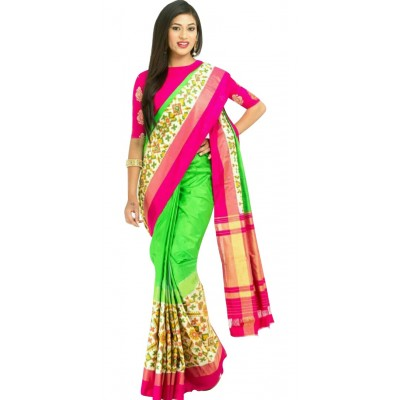 Ikkath Weaves Green Silk Ikkat Handloom Saree
