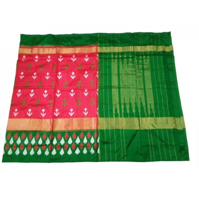 Ikkath Weaves Peach Silk Kaddi Bordered Ikkat Handloom Saree