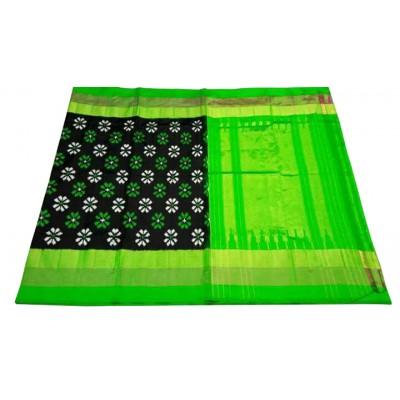 Ikkath Weaves Black Silk Floral Printed Ikkat Handloom Saree