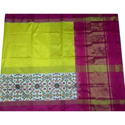 Ikkath Weaves Green Silk Pan Patola Ikkat Handloom Saree
