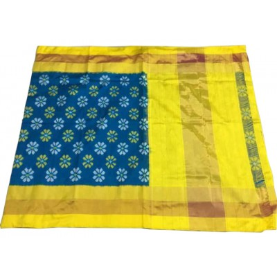 Ikkath Weaves Blue Silk Floral Printed Ikkat Handloom Saree