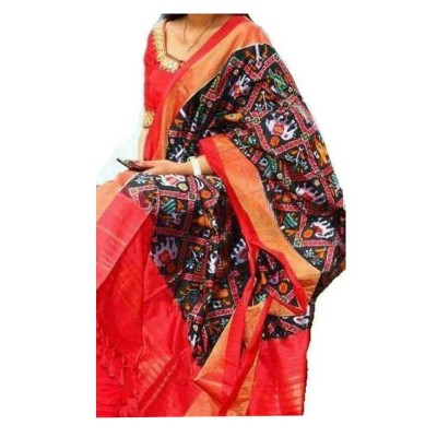 Ikkath Weaves Black Silk Printed Ikkat Handloom Duppatta