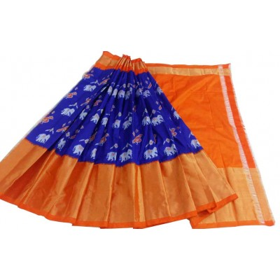 Ikkath Weaves Blue Silk Ikkat Designed Un-Stitched Handloom Lehenga Choli