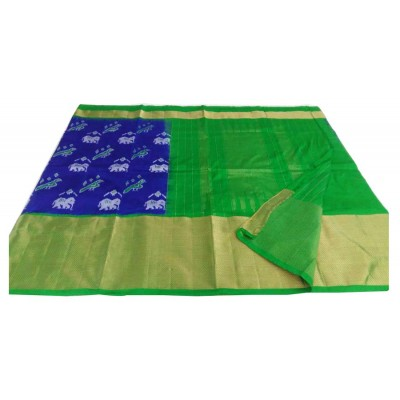 Ikkath Weaves Blue Silk Kaddi Bordered Ikkat Handloom Saree