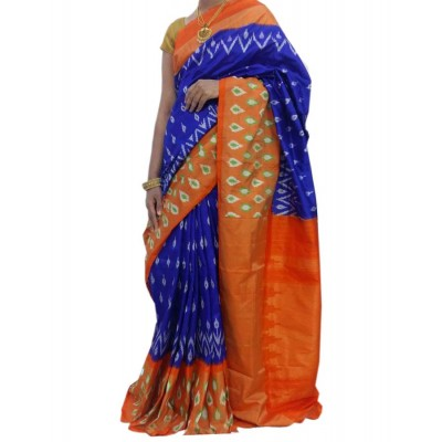 Ikkath Weaves Blue Silk Patola Ikkat Handloom Saree