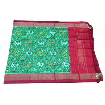 Ikkath Weaves Green Silk Printed Ikkat Handloom Duppatta