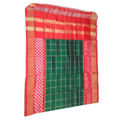 Ikkath Weaves Green Silk Checkered Ikkat Handloom Duppatta