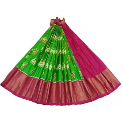 Ikkath Weaves Green Silk Ikkat Designed Un-Stitched Handloom Lehenga Choli