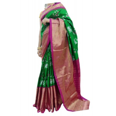 Ikkath Weaves Green Silk Kaddi Bordered Ikkat Handloom Saree