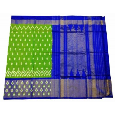 Ikkath Weaves Green Silk Patola Chettinadu Handloom Saree