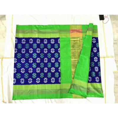 Ikkath Weaves Navy Blue Silk Floral Printed Ikkat Handloom Saree
