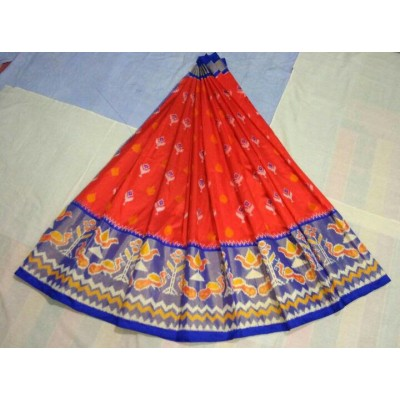 Ikkath Weavers Red Silk Ikkat Designed Un-Stitched Handloom Lehenga Choli