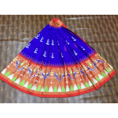 Ikkath Weavers Blue Silk Ikkat Designed Un-Stitched Handloom Lehenga Choli