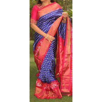Ikkath Weaves Blue Silk Ikkat Handloom Saree