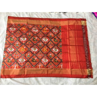 Ikkath Weaves Red Silk Printed Ikkat Handloom Duppatta
