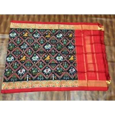 Ikkath Weaves Black Silk Printed Ikkat Handloom Duppatta
