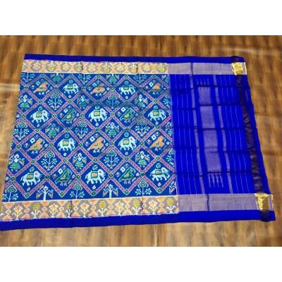 Ikkath Weaves Royal blue Silk Printed Ikkat Handloom Duppatta