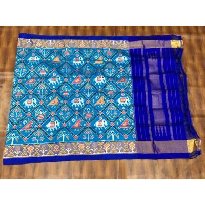 Ikkath Weaves Sky Blue Silk Printed Ikkat Handloom Duppatta