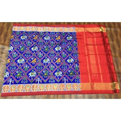 Ikkath Weaves Blue Silk Printed Ikkat Handloom Duppatta