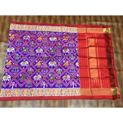 Ikkath Weaves Violet Silk Printed Ikkat Handloom Duppatta