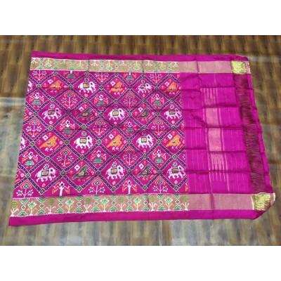 Ikkath Weaves Lavender Silk Printed Ikkat Handloom Duppatta
