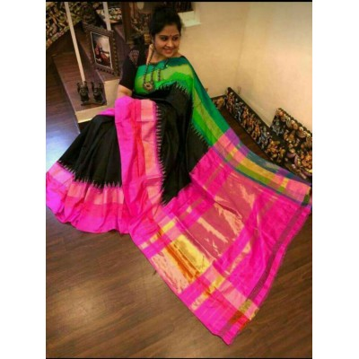 Ikkath Weaves Black Silk Ganga-Jamuna bordered Ikkat Handloom Saree