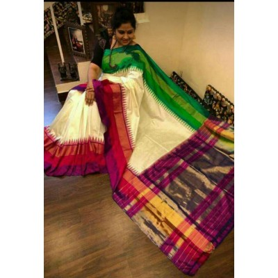 Ikkath Weaves Off White Silk Ganga-Jamuna bordered Ikkat Handloom Saree
