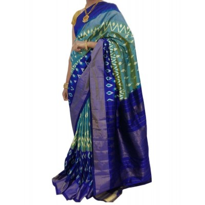 Ikkath Weaves Multi Colour Silk Patola Ikkat Handloom Saree