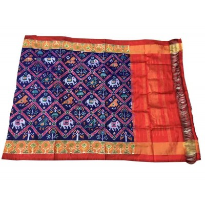 Ikkath Weaves Navy Blue Silk Printed Ikkat Handloom Duppatta