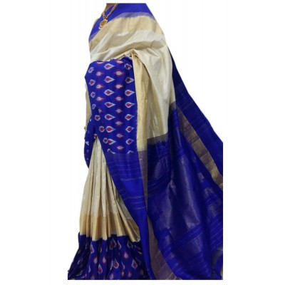 Ikkath Weaves Off White Silk Patola Ikkat Handloom Saree